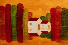 Zwei Häuser am See ( 50 x 70 cm) 300 €
