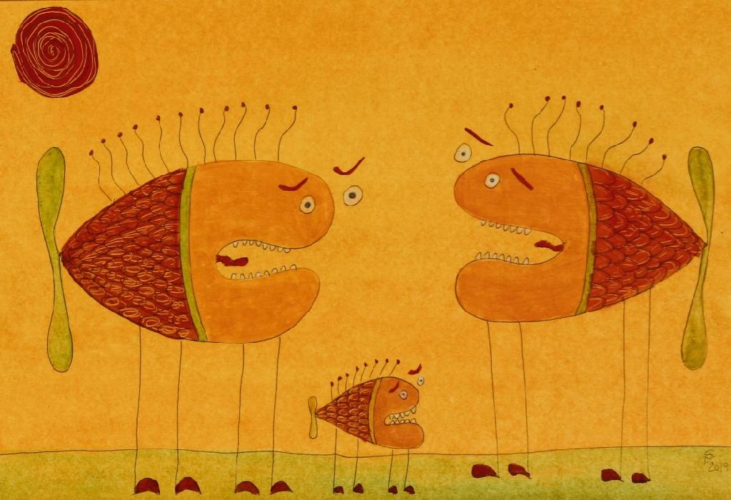 Fischfamilie (20x29 cm) 65 €
