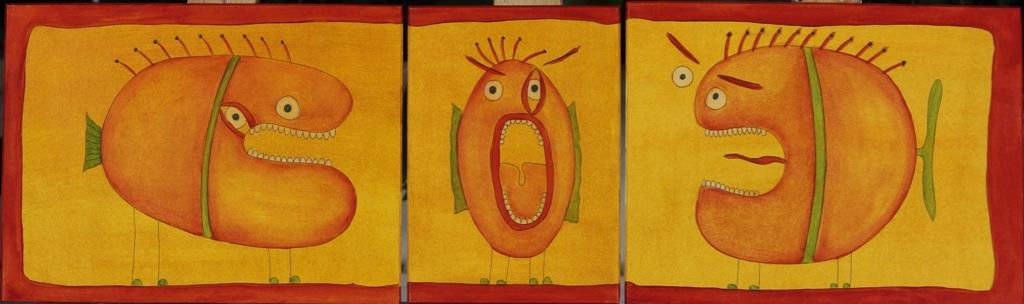 Ein Fisch-Triptychon (17 x 40 cm) 100 €